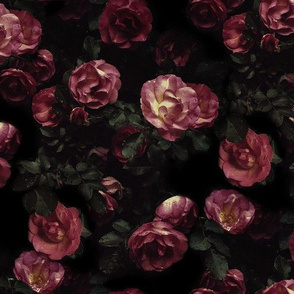 Moody Florals - Rainy Day Roses on Black