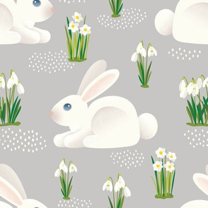 BUNNIES & SNOWDROPS - CLOUD GRAY 10""