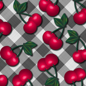 Cherries on Gingham - Large Scale