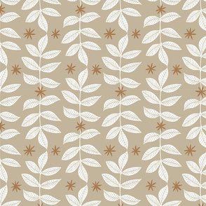 Cascading Leaves - Beige and Brown