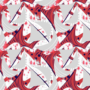 Stormy Seas red gray sails