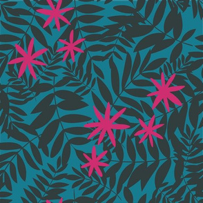 Tropical Ferns with Teal and Magenta