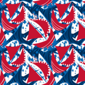 Stormy Seas navy red sails