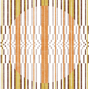 vertical stripped quilt in lime and tangerine