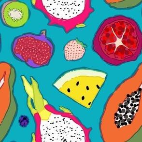 Seedy Fruits in Teal Blue