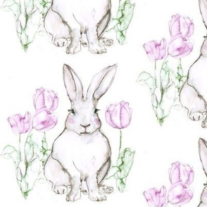 Bunny Rabbit and Tulips