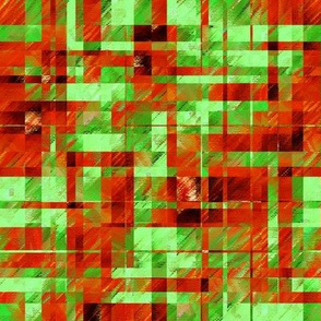 BYF5 - Scattered Contemporary Plaid in Rusty Orange and Green
