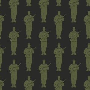 soldiers - green on dark grey - military - LAD19