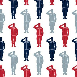soldiers - navy, red, blue - military- salute- LAD19