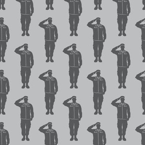 soldiers - grey on grey - military- salute- LAD19