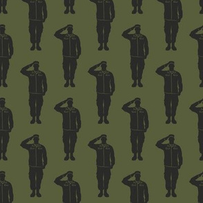 soldiers - dark grey on green - military- salute- LAD19
