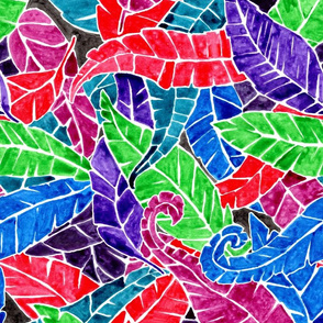 watercolorful feathers (or leaves)