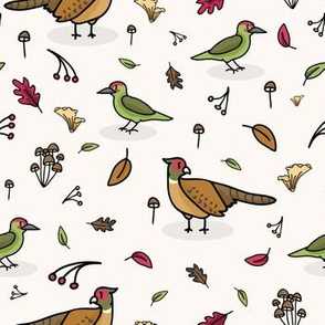 Cute woodpecker and pheasant cartoon pattern