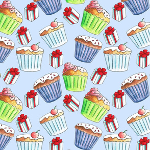 Cupcakes and presents on a blue background