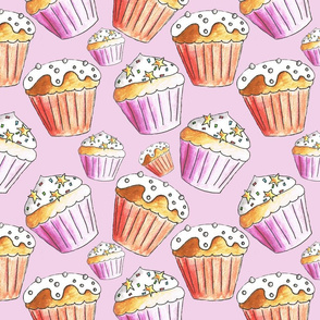 Cupcakes on a pink girly background