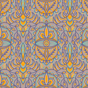 Ethnic Eye Pattern in Orange and Teal