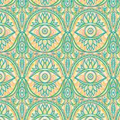 Boho Lotus Eye Pattern in Teal and Orange