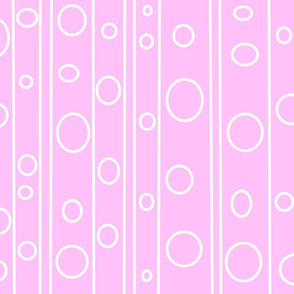 Minimal retro solid pink background with white stripe and circles
