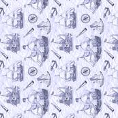 Explorer's sketchbook blue tea towel