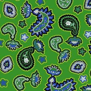 Green and Blue Paisley