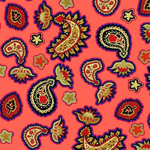 Coral Purple and Gold Paisley