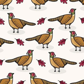 Cute pheasant cartoon seamless pattern background