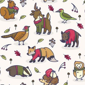 Cute woodland animal cartoon seamless pattern