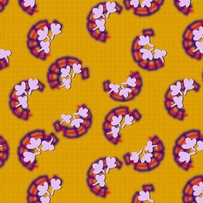 Calico  Clover - Yellow Purple