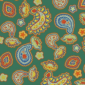 Green Yellow and Red Paisley in Trendy1930s Colors