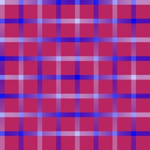 BYF6 - Open Weave Window Pane Plaid in VioletBlue Gradient and Deep Rosy Pink