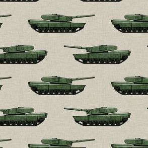 tanks - military vehicles - green on tan - LAD19