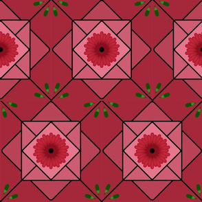 Red daisy tile