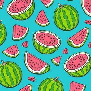 Watermelons Watermelon Fruits on Blue