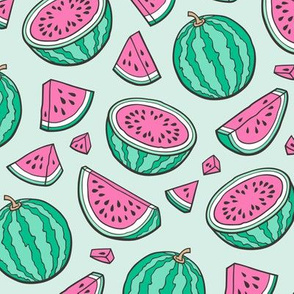 Pink Watermelons Watermelon Fruits on Light Mint Green