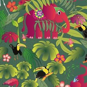 boho paradise elephants a green