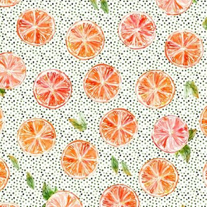 Watercolor grapefruits with dots