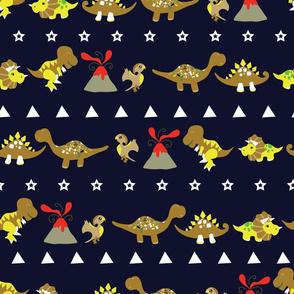 Cute Jurassic Dinosaurs arranged horizontally