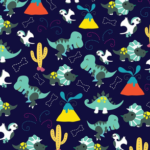 Cute Jurassic Dinosaurs DARK-BLUE