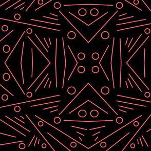 Red abstract lines on a solid black background