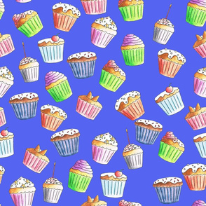 Lovely cupcakes on a blue background