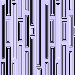 Black rectangles and squares retro pattern on purple