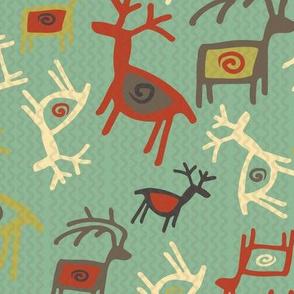 petroglyph deer mint green
