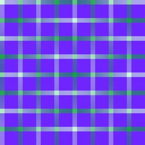 BYF7 - Large  - Open Weave Window Pane Plaid in Green Gradient on Blue Violet
