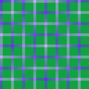 BYF7 - Open Weave Window Pane Plaid in Violet Blue Gradient on Green