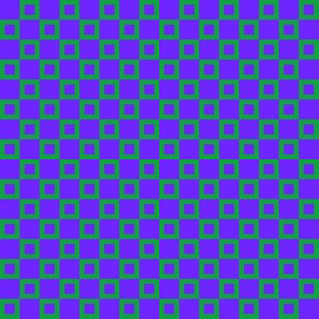 BYF7 - Small -  Donut Hole Checkerboard in  Violet Blue  and  Green