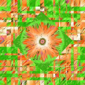 BYF8 - Large - Scattered Contemporary Plaid with Floral Medallions in Orange and Green