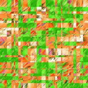 BYF8 - Large - Scattered Contemporary Plaid in Orange and Green