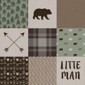 Little Man - Wholecloth Quilt - Brown Bear - WWCQ8