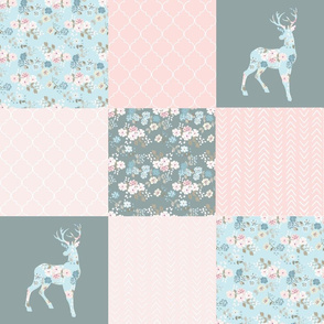 Boho Floral Deer - Wholecloth Quilt - WWCQ10