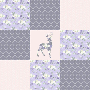 Boho Floral Deer - Purple/Cream - Wholecloth Quilt - WWCQ11